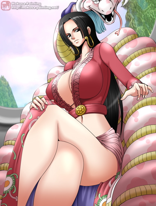 1girl amazon amazon_lily black_eyes black_hair boa_hancock breasts cleavage earrings female huge_breasts jewelry legs_crossed midriff mokusa navel no_bra one_piece salome_(one_piece) shichibukai sitting snake watermark web_address