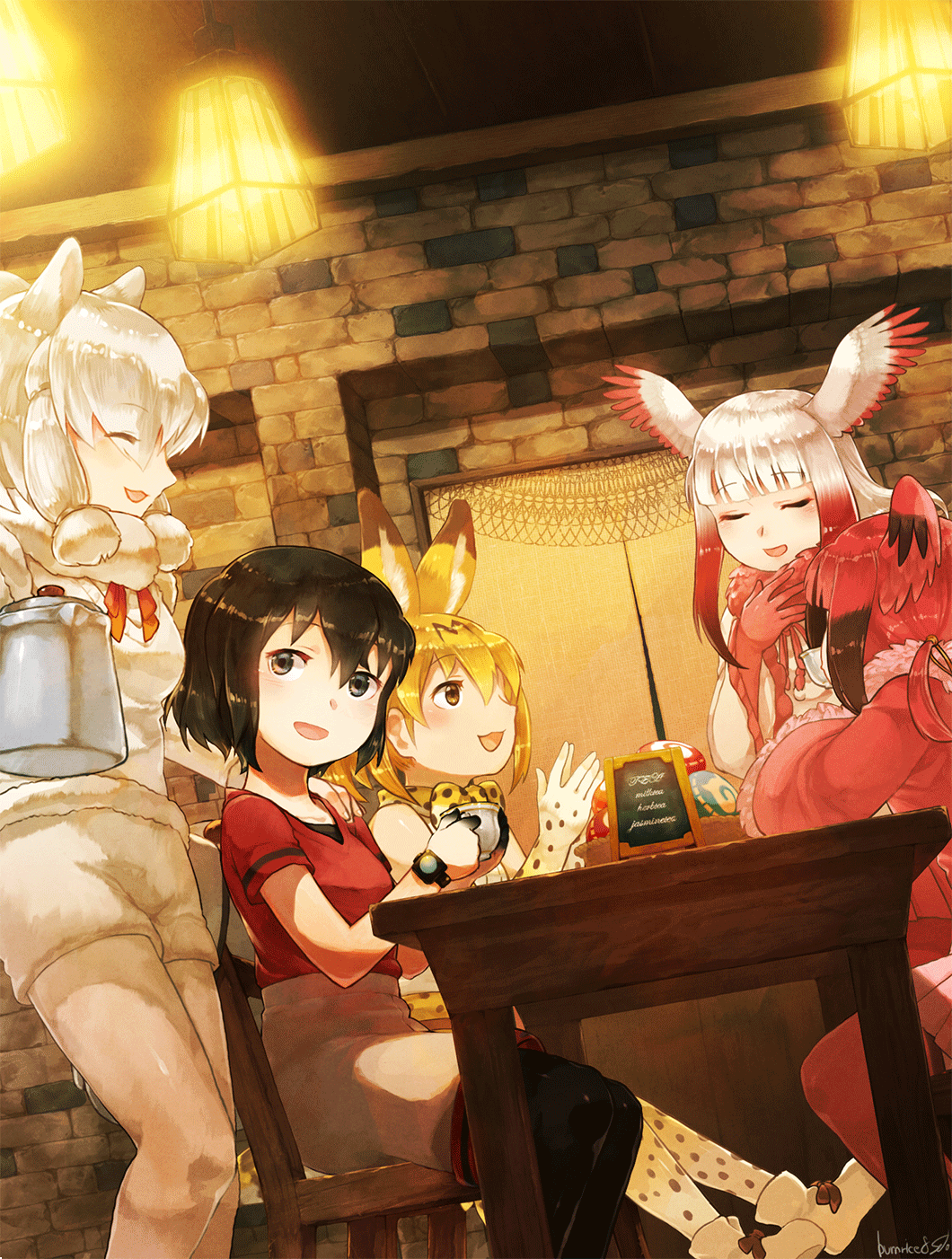 5girls :3 alpaca_ears alpaca_girl alpaca_suri_(kemono_friends) animal_ears bangs bare_shoulders bird_wings black_hair black_legwear blonde_hair blue_eyes bow bowtie closed_eyes commentary_request cup elbow_gloves extra_ears eyebrows_visible_through_hair food frilled_sleeves frills fur_collar fur_trim gloves hair_bun hair_over_one_eye hair_tubes hand_on_another's_shoulder hand_on_own_chest head_wings high-waist_skirt highres indoors japanese_crested_ibis_(kemono_friends) japari_bun kaban_(kemono_friends) kemono_friends long_hair long_sleeves multicolored_hair multiple_girls neck_ribbon no_hat no_headwear open_mouth pantyhose pleated_skirt print_gloves print_legwear print_neckwear print_skirt red_fur red_legwear red_neckwear red_shirt redhead ribbon scarlet_ibis_(kemono_friends) serval_(kemono_friends) serval_ears serval_girl serval_print serval_tail seto_(harunadragon) shirt short_hair short_twintails shorts sidelocks sitting skirt sleeveless smile sweater t-shirt table tail tea teacup teapot thigh-highs twintails vest watch white_hair white_legwear white_shirt wings yellow_eyes