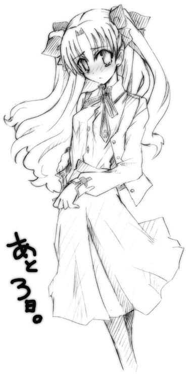 1girl blush dress fate/stay_night fate_(series) formal hair_ribbon hizuki_yayoi long_hair looking_at_viewer monochrome ribbon simple_background skirt solo standing tohsaka_rin twintails white_background