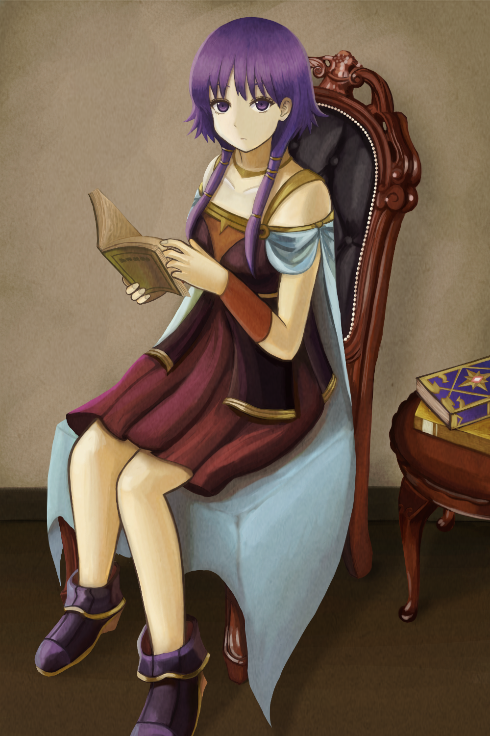 1girl bare_shoulders book boots bracer cape chair dress fire_emblem fire_emblem:_seima_no_kouseki highres jewelry kage_(detteiutteiu) long_hair lute_(fire_emblem) necklace purple_hair reading sitting solo table twintails violet_eyes