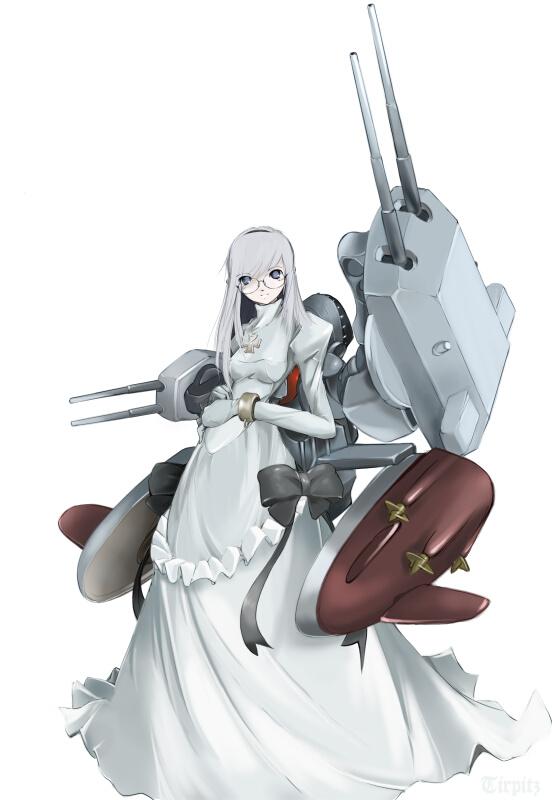 1girl cross dress glasses kriegsmarine mecha_musume military nano original ship solo tirpitz watercraft white_hair world_war_ii