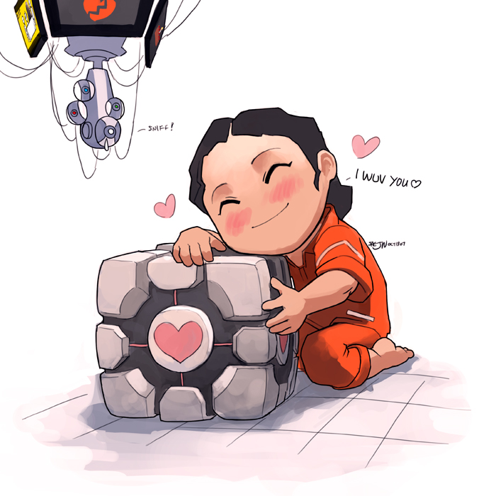 1girl barefoot chell chibi cube glados heart jealous jumpsuit portal saejin_oh spoilers tears valve weighted_companion_cube yahtzee_croshaw zero_punctuation