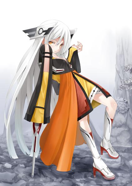 1girl boots high_heels long_hair murata_taichi orange_eyes original shoes solo very_long_hair white_hair
