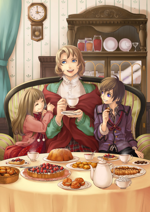 1boy 2girls ^_^ arm_grab blue_eyes brown_hair checkerboard_cookie child clock closed_eyes cookie couch cream_puff cup cupboard curtains dinner doily dress family food happy hatake_michi holding indoors jacket long_hair looking_away mother_and_daughter mother_and_son multiple_girls original pie plaid plaid_skirt plate pudding room saucer shawl short_hair sitting skirt spoon steam sugar_cube table tablecloth tea teacup teapot