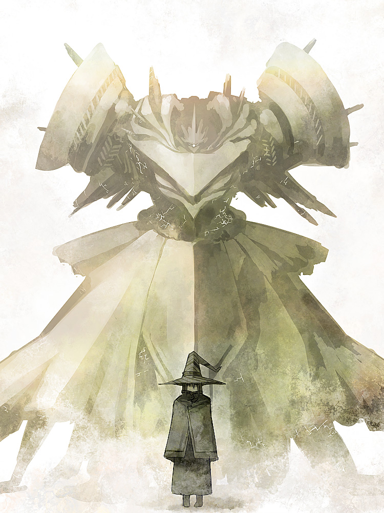 androgynous bad_id black_hair cloak commentary_request desert fantasy golem hat mecha muted_color pale_color pixiv pixiv_fantasia pixiv_fantasia_1 sand solo translation_request tsukuba_masahiro witch_hat wizard