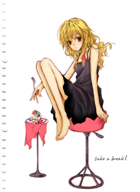 1girl ? alternate_costume arm_support bangs barefoot between_fingers black_dress blonde_hair braid cake closed_mouth cloth dress english female food fork fruit full_body hair_ribbon holding_fork honokan kirisame_marisa long_hair looking_at_viewer no_hat no_headwear red_eyes red_ribbon ribbon single_braid sitting sleeveless sleeveless_dress slice_of_cake solo stool strawberry touhou wavy_hair white_background