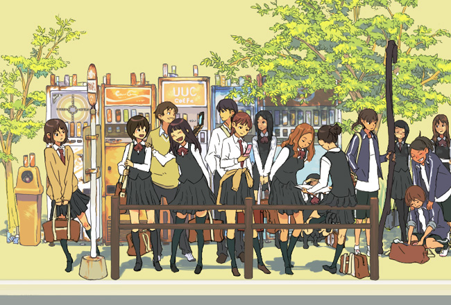 6+girls bus_stop multiple_girls original pantyhose purimari school_uniform serafuku thigh-highs tree vending_machine
