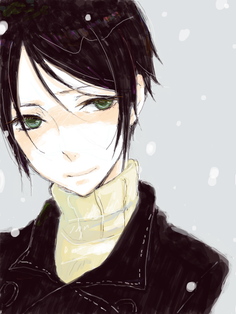 black_hair green_eyes nabari_no_ou short_hair smile snow yoite