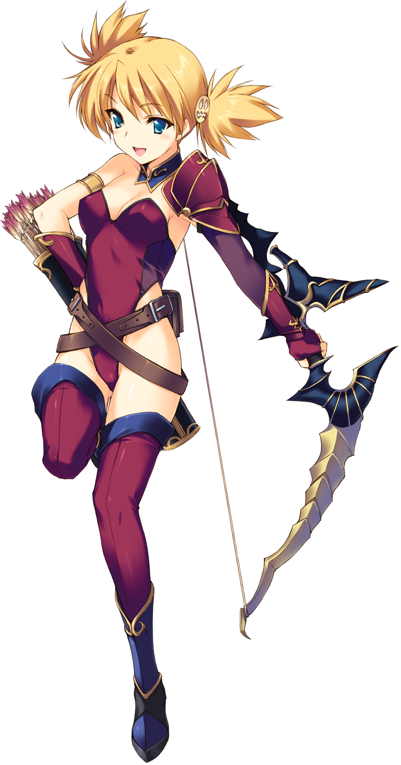 1girl :d aqua_eyes armlet armor arrow belt blonde_hair boots bow_(weapon) breasts cleavage detached_collar female fingerless_gloves full_body gloves hair_ornament hand_on_hip highres holding holding_weapon kawata_hisashi leotard medium_breasts multiple_belts open_mouth purple_leotard quiver sasamori_karin short_hair shoulder_armor smile solo standing_on_one_leg strapless strapless_leotard thigh-highs to_heart_2 to_heart_2_dungeon_travelers transparent_background twintails weapon