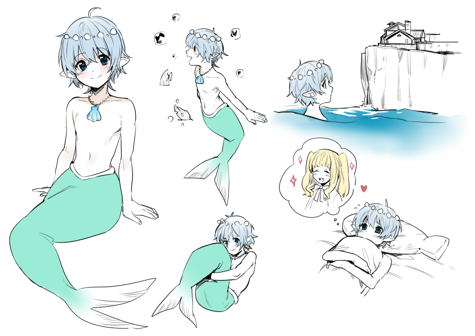 1boy 1girl blonde_hair blue_hair blush character_sheet cliff erubo fish_tail heart holding_pillow jewelry male_focus merman monster_boy music navel necklace ocean on_bed original outdoors partially_colored pillow pillow_hug pointy_ears shell shirtless singing sitting smile solo sparkle thinking thought_bubble white_background