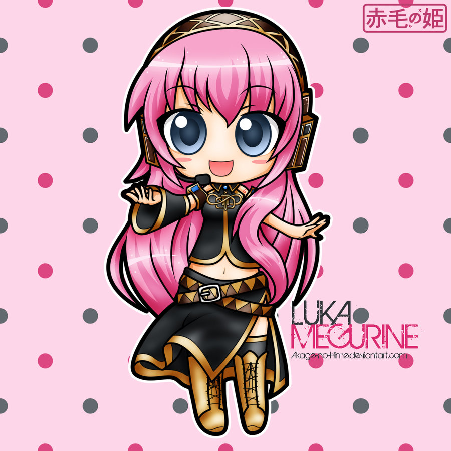 belt blue_eyes boots chibi hand_out headphones long_hair megurine_luka official_artwork open_mouth pink_hair simple_background skirt sleeves smile tagme thigh_highs