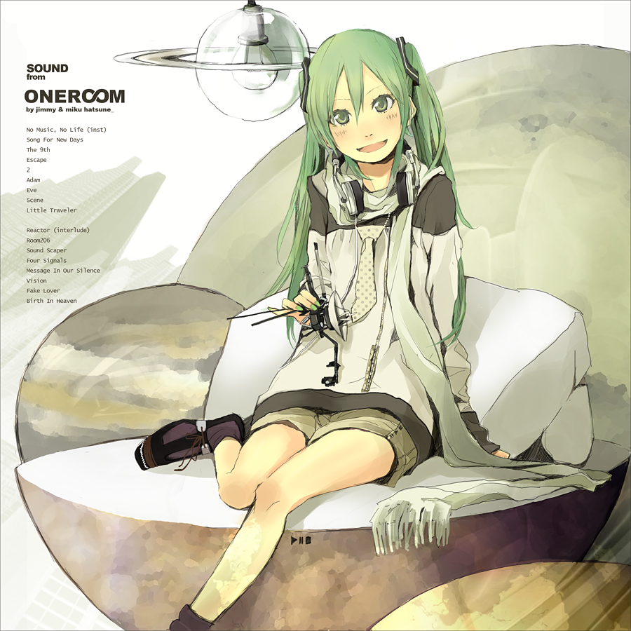 bad_id fashion green_eyes green_hair hatsune_miku headphones lightbulb nail_polish necktie saturn scarf smile solo space_craft vocaloid voyager yoshito