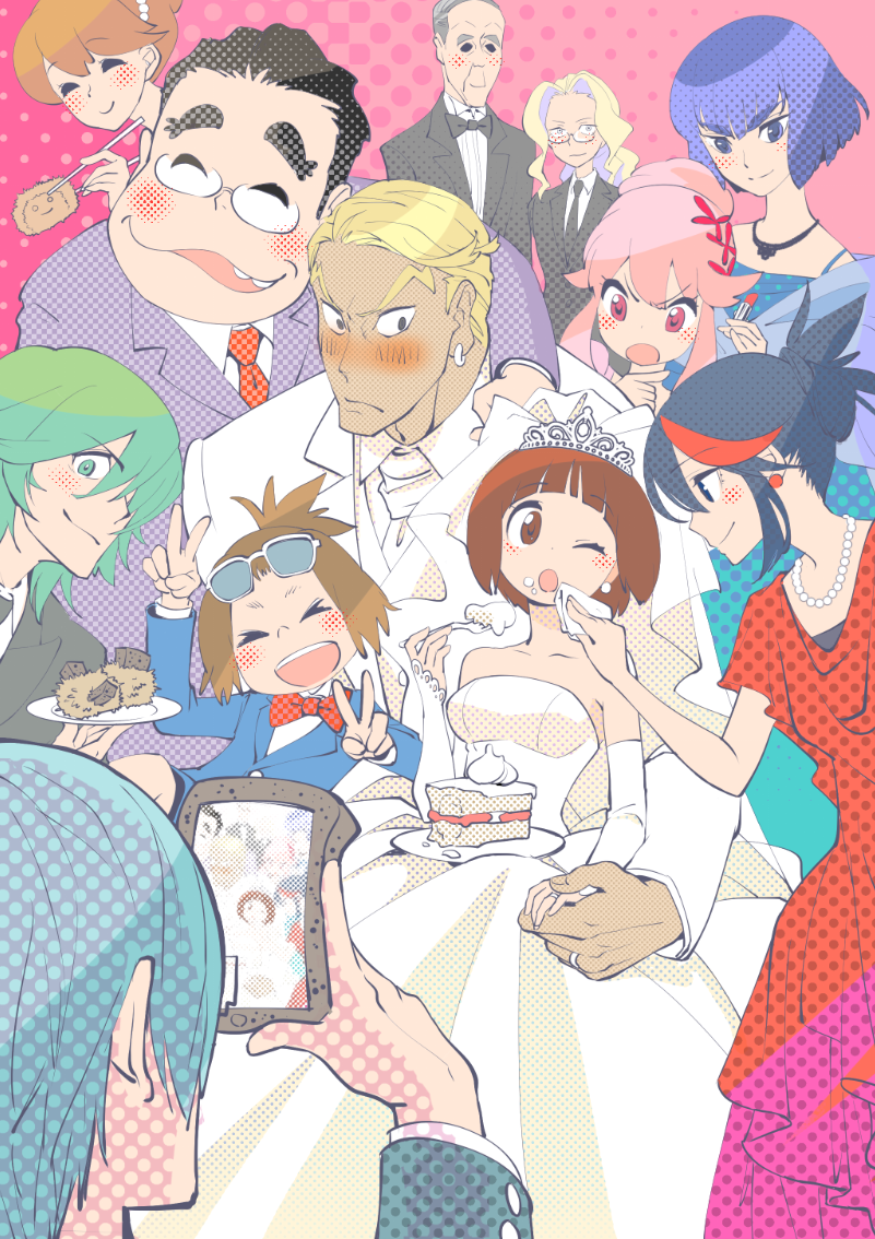 5girls 6+boys ariorihaberi bare_shoulders black_hair blonde_hair blue_eyes blue_hair blush bow bowtie bridal_veil brother_and_sister brown_eyes brown_hair cake chopsticks dress earrings elbow_gloves father_and_daughter father_and_son food formal gamagoori_ira glasses gloves green_hair husband_and_wife inumuta_houka iori_shirou jakuzure_nonon jewelry kill_la_kill kiryuuin_satsuki lipstick long_hair makeup mankanshoku_barazou mankanshoku_mako mankanshoku_matarou mankanshoku_sukuyo matoi_ryuuko mikisugi_aikurou multiple_boys multiple_girls necklace one_eye_closed pink_hair red_eyes ring sanageyama_uzu short_hair siblings sisters smile soroi_mitsuzou strapless strapless_dress suit sunglasses sunglasses_on_head tiara v veil wedding wedding_dress white_dress white_gloves