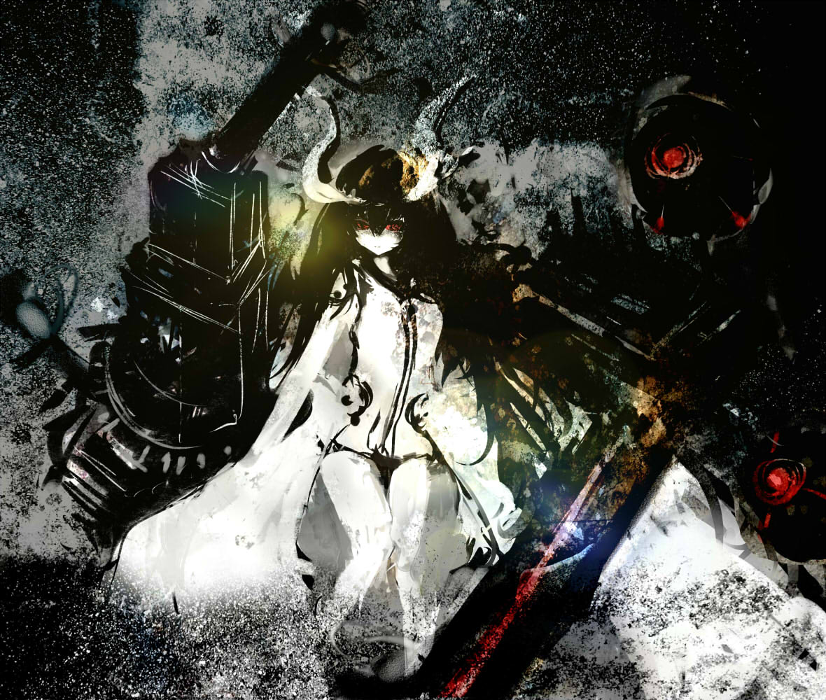 1girl abstract_background anchorage_water_oni assi black_hair cannon faux_traditional_media kantai_collection legs long_hair long_horns looking_at_viewer mechanical_parts red_eyes robe shinkaisei-kan solo texture very_long_hair