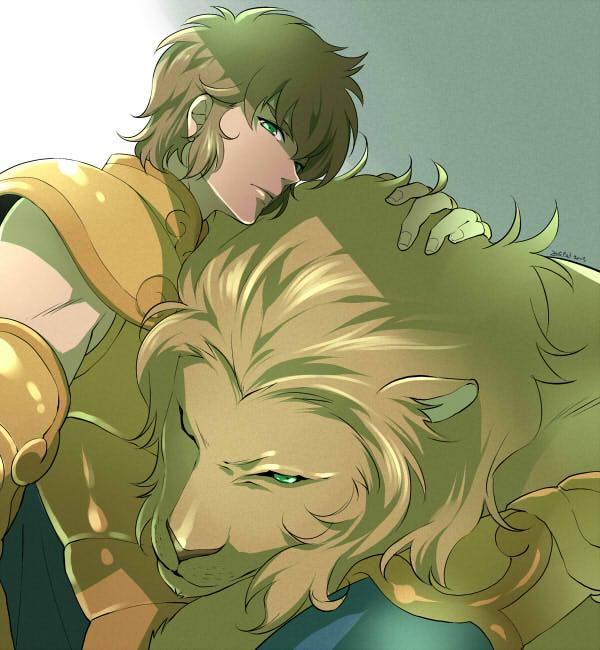 1boy animal armor brown_hair dated gold_armor gold_saint green_eyes leo_aiolia lion looking_at_viewer male_focus one_eye_closed saint_seiya shade signature simple_background sitting upper_body wand3754