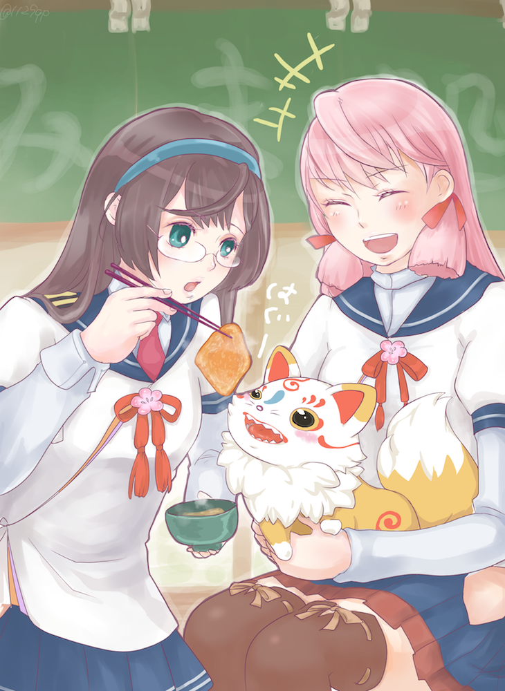 +++ 1129qp 2girls ^_^ aburaage akashi_(kantai_collection) black_hair blue_eyes blue_skirt chopsticks closed_eyes food fox glasses hair_ribbon hairband hip_vent kantai_collection kitsune_udon konnosuke long_hair long_sleeves multiple_girls ooyodo_(kantai_collection) open_mouth pink_hair pleated_skirt ribbon school_uniform semi-rimless_glasses serafuku skirt smile thigh-highs touken_ranbu tress_ribbon under-rim_glasses