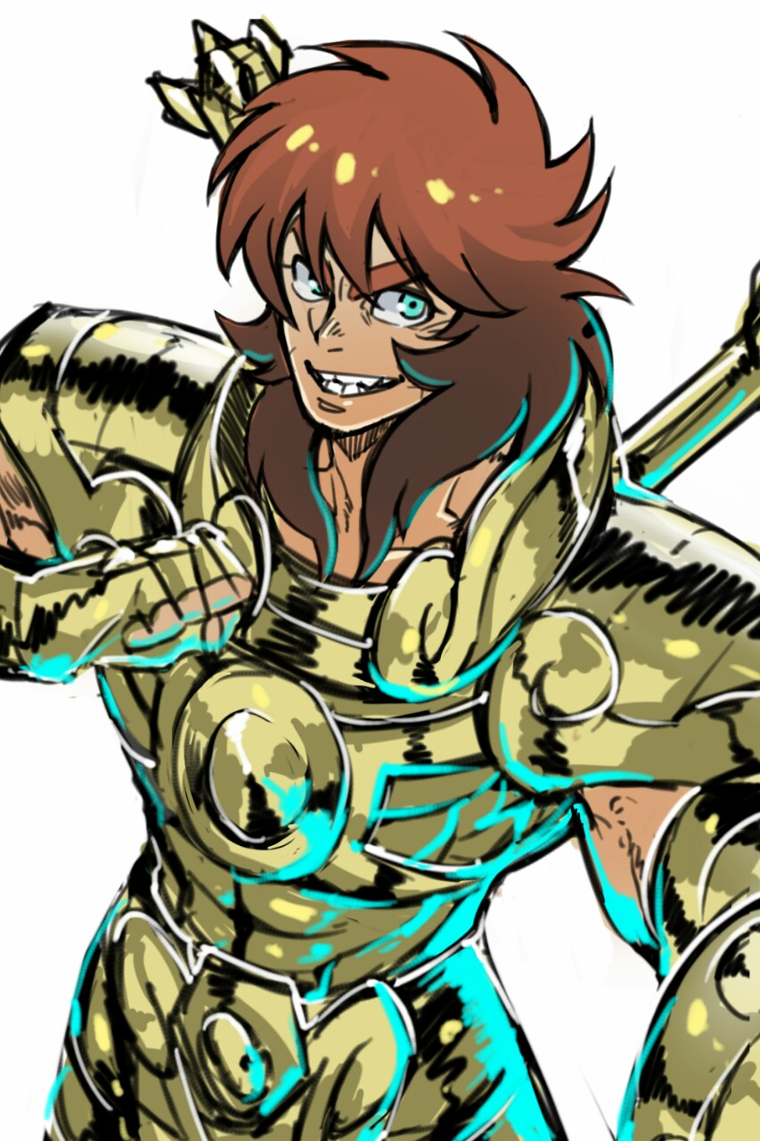 1boy armor blue_eyes brown_hair clenched_hand cowboy_shot fingerless_gloves gloves gold_armor gold_saint grin hand_on_own_chest highres libra_dohko long_hair looking_at_viewer male_focus mullet saint_seiya simple_background smile solo thick_eyebrows torawar white_background