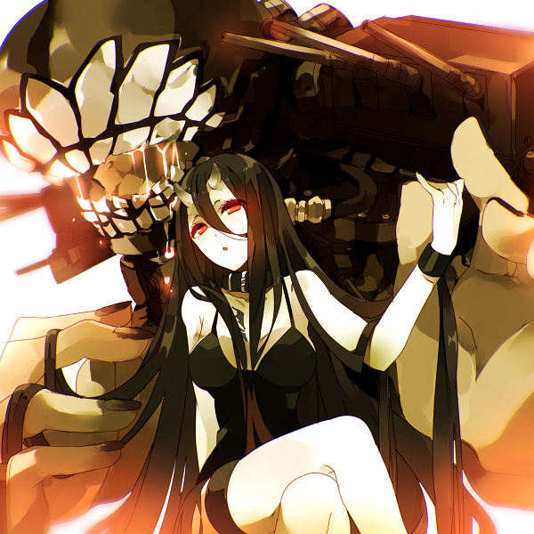 1girl battleship_hime bent_knees black_dress black_hair choker dress fingernails hair_between_eyes horns kantai_collection legs_crossed long_hair looking_at_viewer military military_vehicle oni_horns open_mouth parted_lips personification red_eyes shinkaisei-kan ship short_dress solo solo_focus thigh_strap very_long_hair warship watercraft world_war_ii wristband