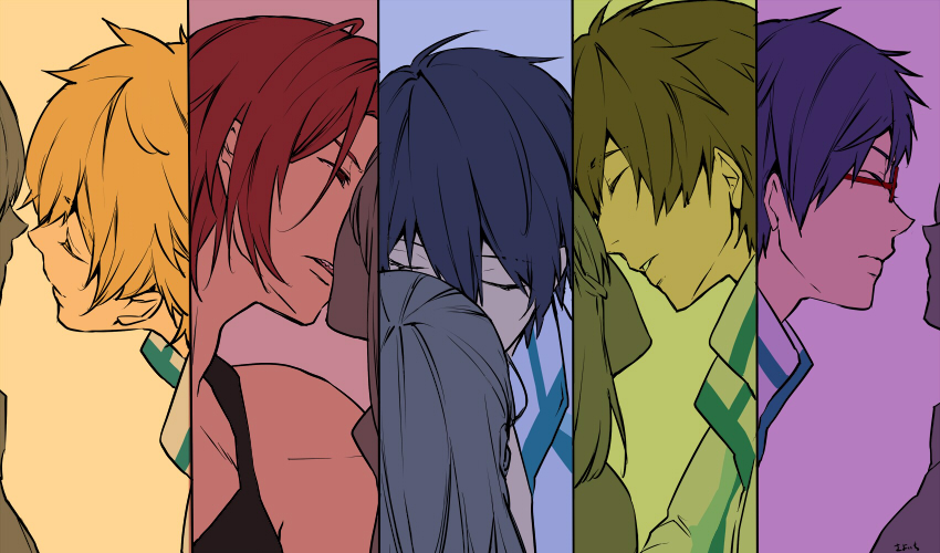 5boys 5girls artist_name blonde_hair closed_eyes colored_eyelashes faceless faceless_female flat_color free! glasses green_hair half-closed_eyes hazuki_nagisa hetero incipient_kiss long_hair matsuoka_rin multiple_boys multiple_girls nanase_haruka_(free!) parted_lips purple_hair red-framed_eyewear red_eyes redhead ryuugazaki_rei sharp_teeth smile split_screen tachibana_makoto tank_top teeth upper_body wand3754