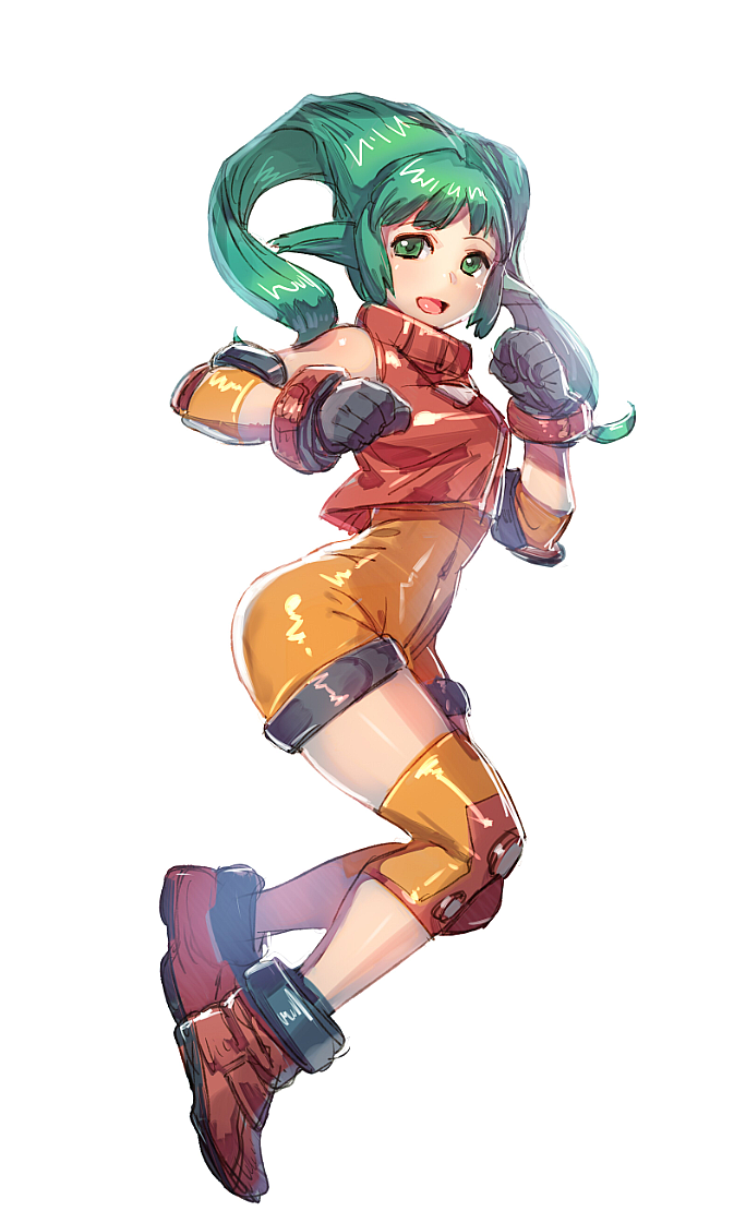 1girl blush bow_(bhp) breasts gloves green_eyes green_hair long_hair looking_at_viewer matching_hair/eyes open_mouth orange_bodysuit smile solo solty_rei solty_revant spandex