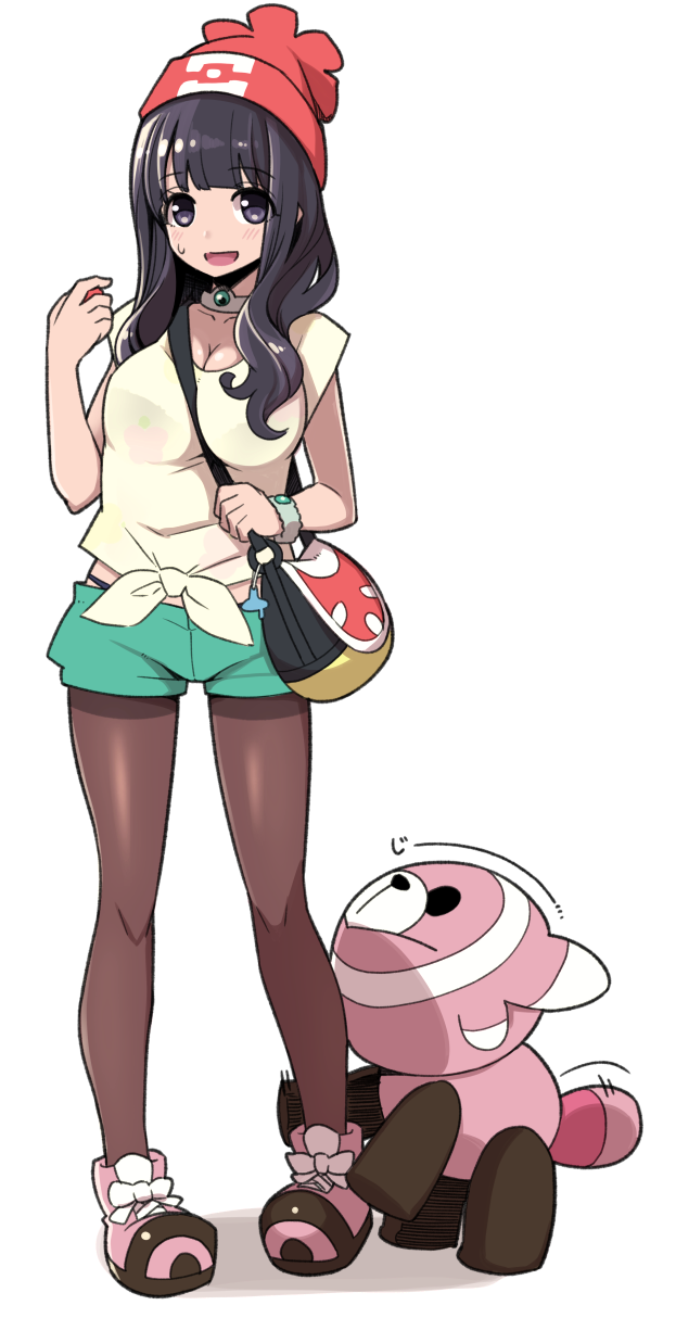 1girl bag beanie black_hair blush breasts cleavage cosplay female_protagonist_(pokemon_sm) female_protagonist_(pokemon_sm)_(cosplay) full_body hanauna hat highres large_breasts long_hair looking_at_viewer nervous_smile open_mouth pantyhose pokemon pokemon_(game) pokemon_sm see-through shorts simple_background smile solo standing strap_cleavage stufful violet_eyes white_background