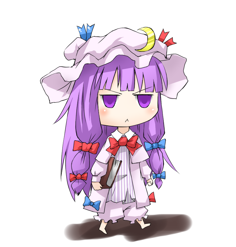 :< angry barefoot bloomers book chibi crescent hat long_hair patchouli_knowledge purple_eyes purple_hair solo taker_(artist) touhou violet_eyes walking