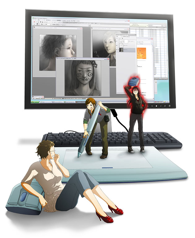 71 computer_keyboard glasses hood hoodie keyboard minigirl monitor oversized_object pen photoshop stylus tablet tongue wacom