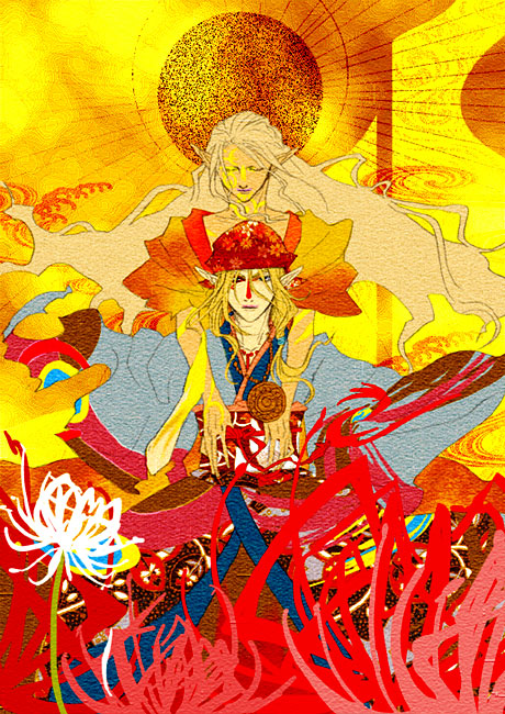 2boys androgynous bandanna blonde_hair bodypaint closed_eyes demon_form do-rag dual_persona facepaint facial_mark facial_tattoo flower hair_tie holding japanese_clothes jewelry kimono kusuriuri_(dark) kusuriuri_(mononoke) long_hair looking_at_viewer makeup male_focus mononoke multiple_boys necklace obi pointy_ears sash spider_lily sun_(symbol) tattoo white_hair wind