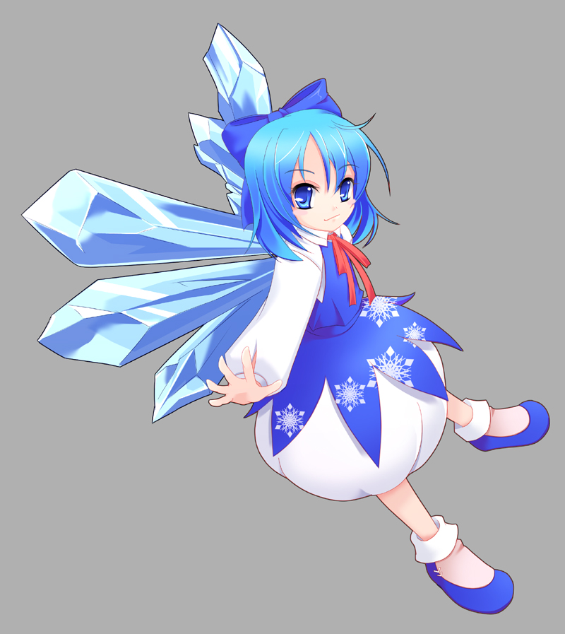 1girl cirno female full_body simple_background snowflakes solo touhou underwear wapokichi wings