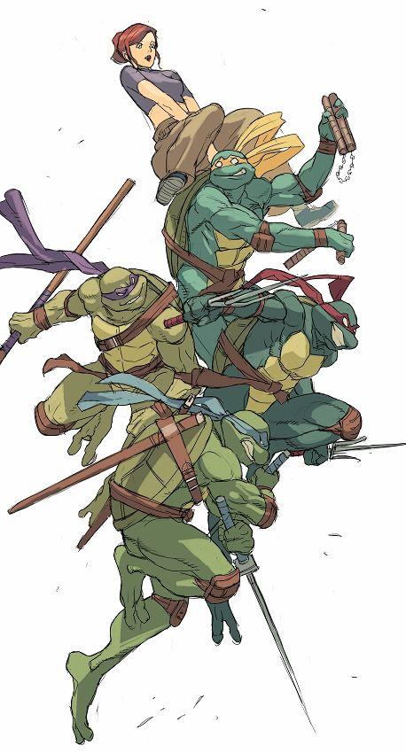 1girl april_o'neil donatello junny katana leonardo michelangelo nunchaku raphael sai_(weapon) sketch staff sword teenage_mutant_ninja_turtles weapon