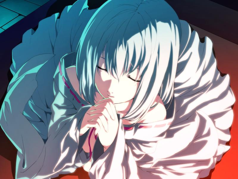 1girl closed_eyes dies_irae g_yuusuke game_cg hands_clasped himuro_rea praying robe short_hair silver_hair solo