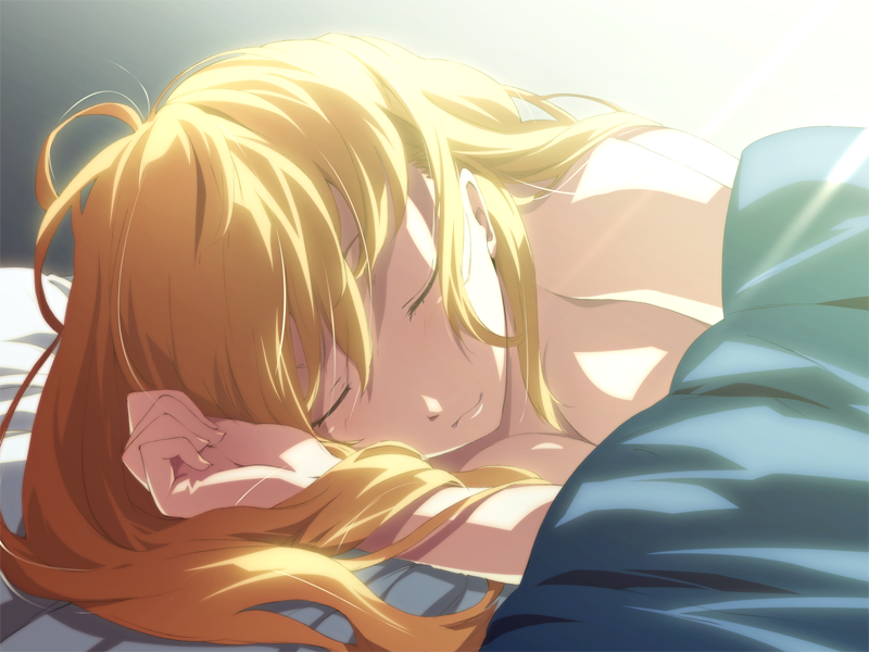 1girl bed blonde_hair breasts cleavage closed_eyes dies_irae g_yuusuke game_cg long_hair lying marie_(dies_irae) on_side sleeping smile solo