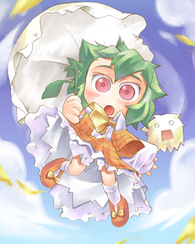 1girl :o ascot chibi clouds female green_hair kazami_yuuka kedama lowres nyagakiya o_o plaid plaid_skirt plaid_vest red_eyes short_hair skirt skirt_set solo touhou umbrella umbrella_riding youkai
