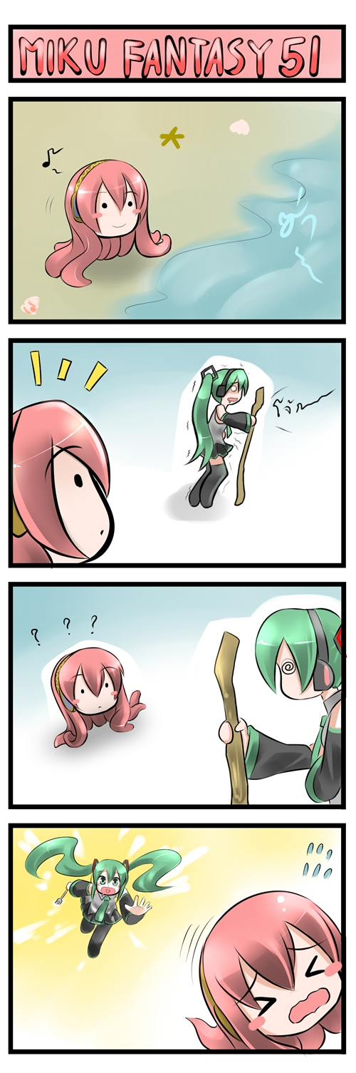 4koma ? @_@ catstudio_(artist) comic fork green_hair hatsune_miku highres megurine_luka red_hair redhead silent_comic takoluka twintails vocaloid