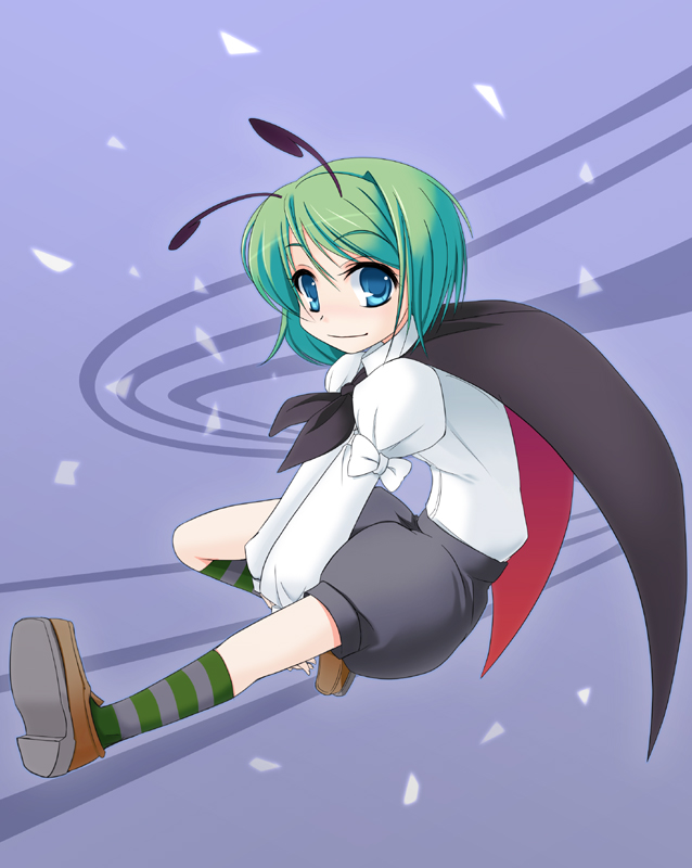 1girl antennae blue_eyes cape female green_hair socks solo striped striped_legwear touhou wapokichi wriggle_nightbug