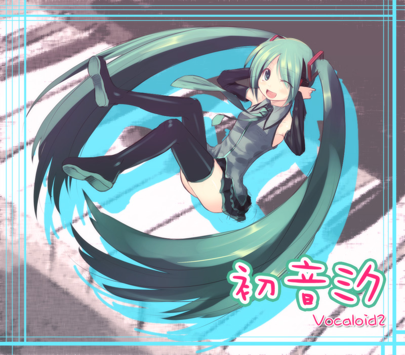 1girl hands_on_headphones hatsune_miku headphones kanchou_serio long_hair solo thigh-highs twintails very_long_hair vocaloid wink