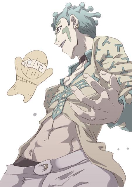abs bodysuit chibi cioccolata green_hair jojo_no_kimyou_na_bouken male_focus midriff navel oasis_(stand) secco stand_(jojo) tokyo_(great_akuta)