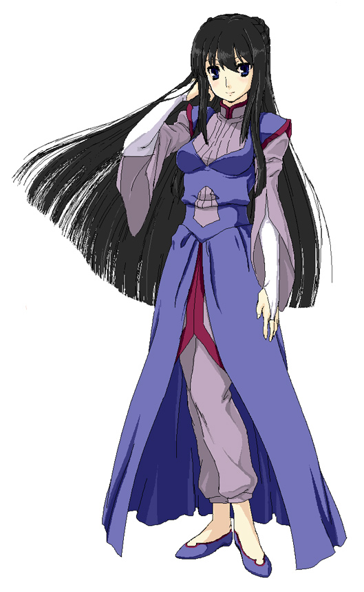 1girl arm_at_side arm_up black_hair breasts full_body gundam gundam_00 hand_in_hair kirisato_itsuki legs_together long_hair long_sleeves looking_at_viewer marina_ismail pants robe simple_background solo standing very_long_hair white_background