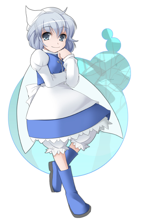 1girl blue_eyes boots closed_mouth dress female full_body letty_whiterock long_sleeves looking_at_viewer rubber_boots short_hair silver_hair simple_background smile solo touhou walking wapokichi white_background white_dress