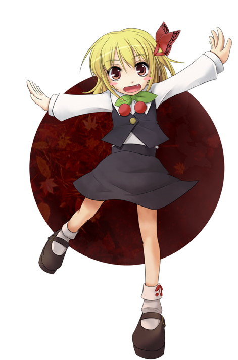 1girl blonde_hair fang female hair_ribbon outstretched_arms red_eyes ribbon rumia short_hair solo spread_arms the_embodiment_of_scarlet_devil touhou wapokichi youkai