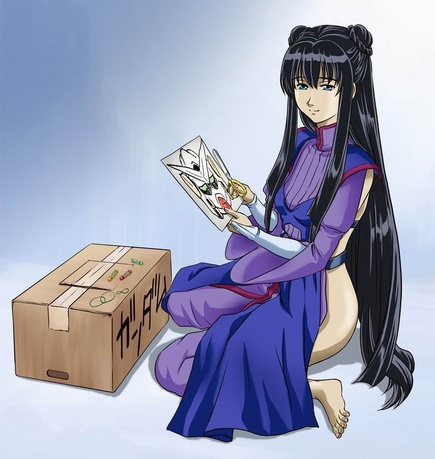 1girl backless_outfit box cardboard_box cardboard_box_gundam full_body gradient gradient_background gundam gundam_00 long_hair lowres marina_ismail no_panties poverty solo very_long_hair