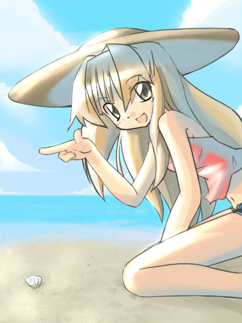 1girl :d bare_legs bare_shoulders beach beret blonde_hair blush camisole coast hat kneeling looking_at_viewer neki-t open_mouth pointing sand seto_no_hanayome seto_san shore shorts smile solo straw_hat water