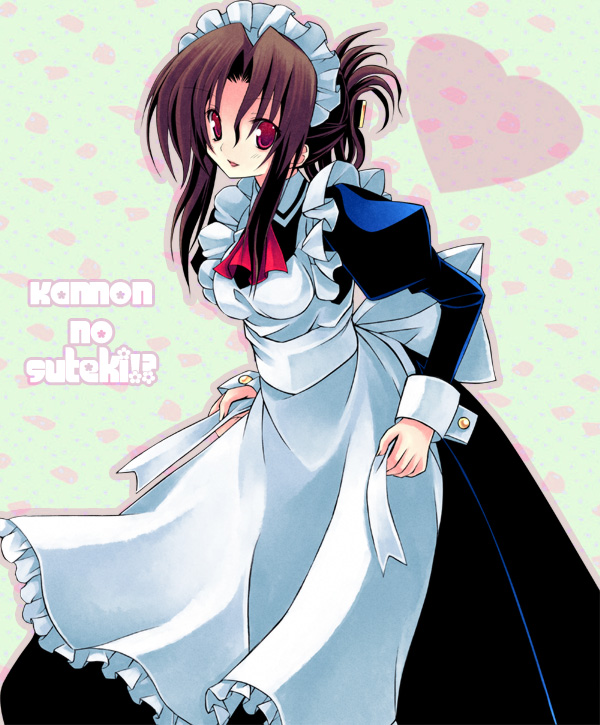 1girl apron brown_hair cravat cuff_links dress folded_ponytail hayate_no_gotoku! heart juliet_sleeves kannon_ouji long_sleeves maid maid_apron maid_headdress maria_(hayate_no_gotoku!) puffy_sleeves red_eyes smile solo