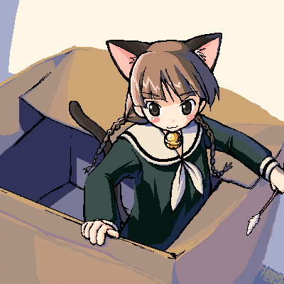 00s animal_ears bell box cardboard cardboard_box cat_ears cat_tail in_box in_container jingle_bell lowres maria-sama_ga_miteru school_uniform serafuku shimazu_yoshino tail