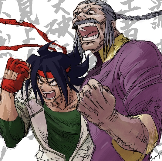 2boys 90s braid chinese_clothes clenched_hand domon_kasshu facial_hair fingerless_gloves g_gundam gloves gundam hachimaki headband male_focus manly master_asia multiple_boys mustache old_man pose red_gloves shouting spiky_hair