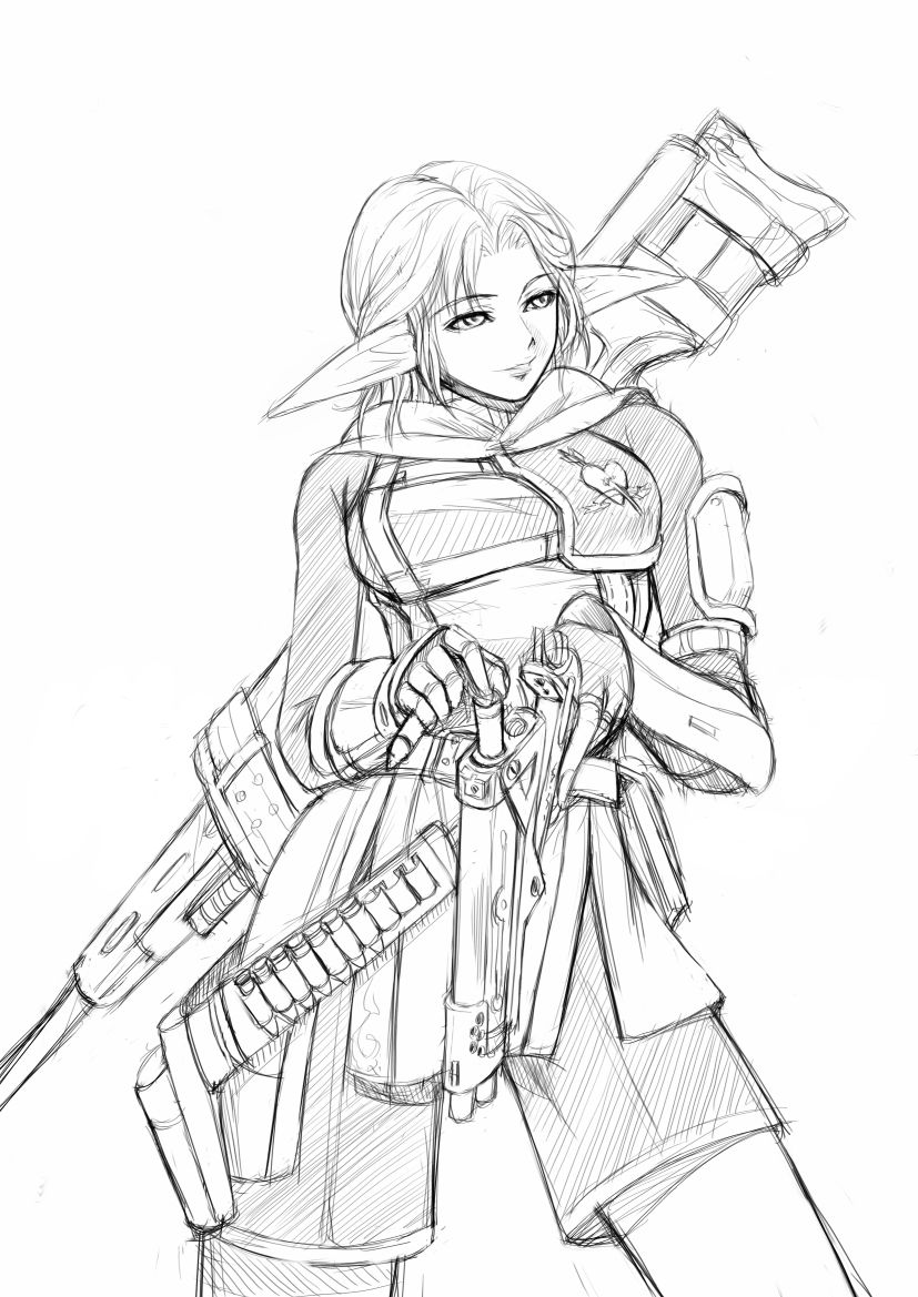 1girl breasts bullpup commando dragunov_svd elf elvaan final_fantasy final_fantasy_xi gun holster monochrome pointy_ears ranger reloading rifle simple_background sniper sniper_rifle solo suppressor weapon
