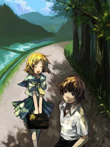 1boy 1girl couple hetero higurashi_no_naku_koro_ni lowres maebara_keiichi ryuuguu_rena school_uniform serafuku