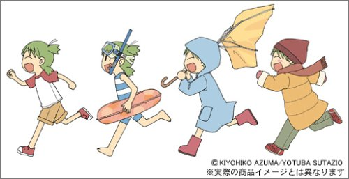 1girl :d azuma_kiyohiko barefoot boots child closed_eyes coat diving_mask hat innertube koiwai_yotsuba lowres one-piece_swimsuit open_mouth quad_tails raglan_sleeves raincoat rubber_boots running scarf scuba seasons smile snorkel swimsuit umbrella yotsubato!