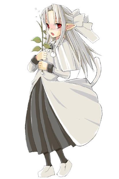 00s 1girl half_updo len pantyhose pointy_ears solo tail tsukihime tsundere white_len