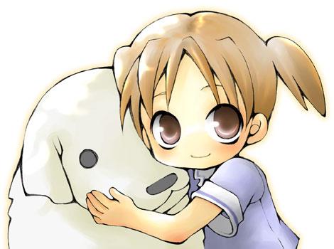 azumanga_daioh child dog lowres mihama_chiyo short_twintails tadakichi-san twintails